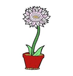 comic cartoon flower in pot vector image