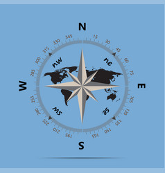 compass and earth on a blue background flat style vector image
