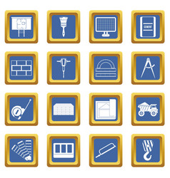 Construction icons set blue vector