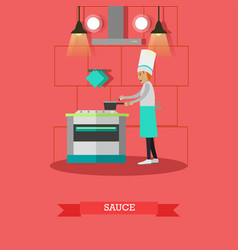Cook preparing sauce in vector