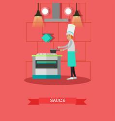 Cook preparing sauce vector