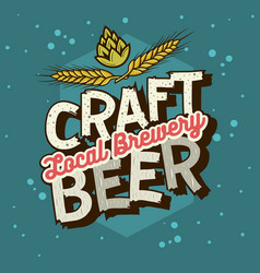 craft beer typographic label design with wheats vector image