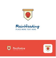 creative skull flag logo design flat color logo vector image
