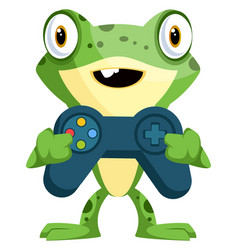 Cute bafrog holding a joystick on white vector