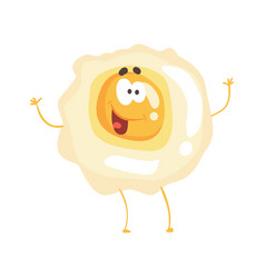 Cute cartoon fried egg with smiley face funny vector