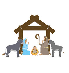 cute holy family and animals manger characters vector image