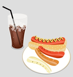 Delicious Hot Dog with A Delicious Iced Coffee vector