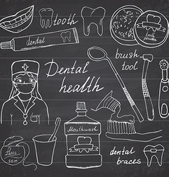Dental health doodles icons set Hand drawn sketch vector