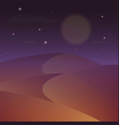 Desert night starry night on the desert vector