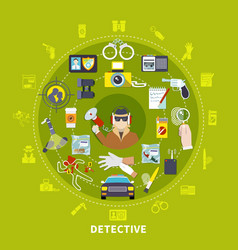 detective round composition vector image