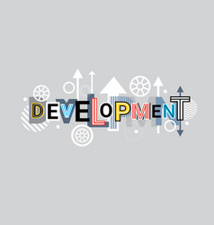 development creative word over abstract geometric vector image