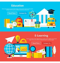 Education and E Learning Flat Website Banners vector image
