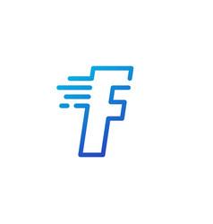 f letter dash fast quick digital mark line vector image