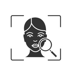 Face scanning glyph icon vector