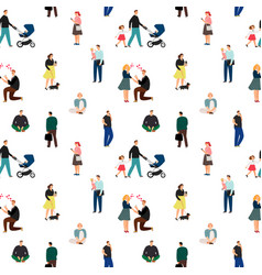family people white pattern vector image