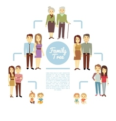 family tree with people icons four generations vector image