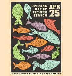 fishing opening season artistic poster design vector image