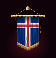 Flag of iceland festive vertical banner wall vector