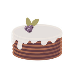 Flat icon of multi-layer chocolate cake with vector