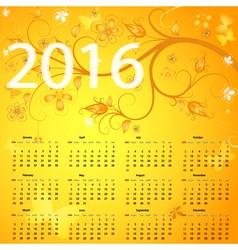 Floral yellow calendar vector image