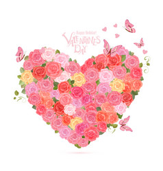 Flower heart with flying butterflies lovely roses vector