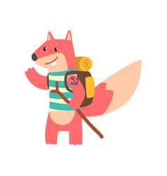 Fox travelling with backpack and staff cute vector