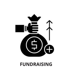 Fundraising black icon sign on isolated vector