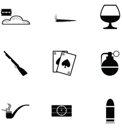Gangster icon set vector