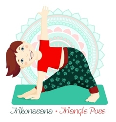 girl in Trikonasana with mandala background 2 vector image