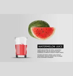 Glass watermelon juice realistic vector