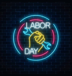 Glowing neon labor day sign in circle frames on vector