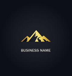 Gold mountain nature logo vector