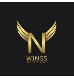 Golden N letter logo vector image
