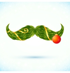 Green fir tree style Christmas mustaches vector