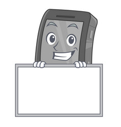 Grinning with board ipad in a mascot bag vector