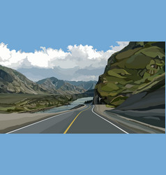 Highway background among mountains river vector