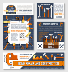 Home repair construction tool poster template set vector