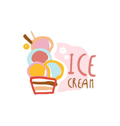 ice cream logo element for restaurant bar cafe vector image