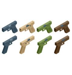 isometric pistol isolated on white background vector image