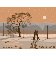 kissing couple in the park at night vector image