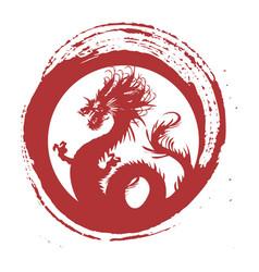 Legendary red dragon in brush paint japan art vector