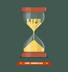 Life sandglass in flat style vector image