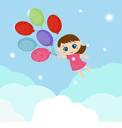Little girl flying balloons vector image