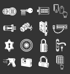lock door types icons set grey vector image
