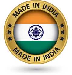 Made in India gold label vector