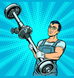 male car mechanic and rear axle vehicle vector image