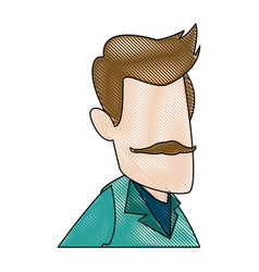 man cartoon face adult caricature character vector image