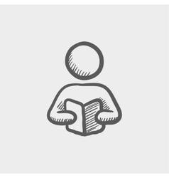 Man reading a book sketch icon vector image