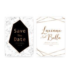 marble wedding invitation card vector image
