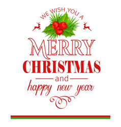 merry christmas holidays greeting typography card vector image